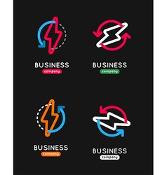 Thunderbolt icon set thunderbolt business logo vector
