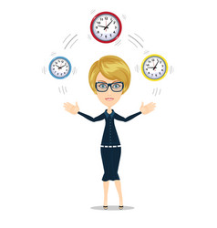 time management concept with businesswoman vector image vector image