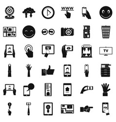 touch screen icons set simple style vector image vector image