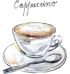 watercolor coffee cappuccino vector image vector image