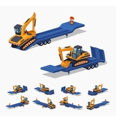 Yellow excavator on the blue low-bed trailer vector