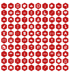 100 hat icons hexagon red vector