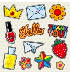Fashion patches icons vector image