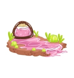Sweet syrup river coming from chocolate candy vector