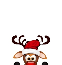 Funny christmas reindeer on white background vector