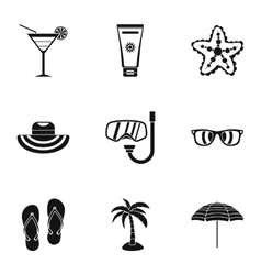 Coast icons set simple style vector