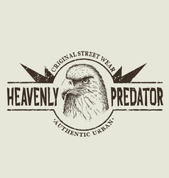 prints label with head of eagle vector image