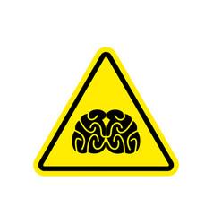 Brains warning sign yellow think hazard attention vector