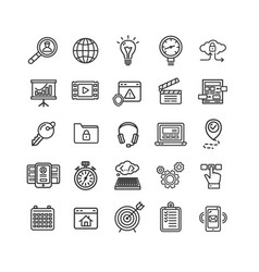 Search engine seo black thin line icon set vector