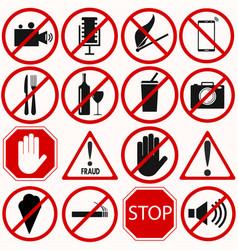 red prohibition symbols set vector image