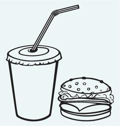 Hamburger with cola vector image