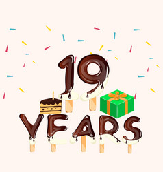 19th years anniversary card happy birthday vector image vector image