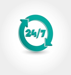 24 hours day and 7 days week icon vector image