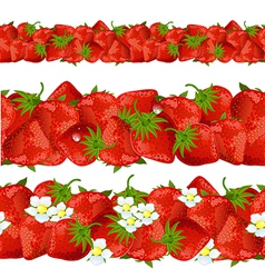 Seamless border of strawberry vector
