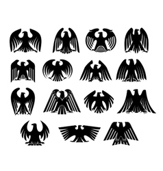 Eagle heraldry silhouettes set vector