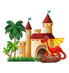 Dragon and castle vector image