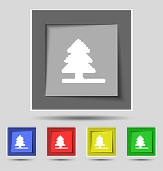 Christmas tree icon sign on the original five vector