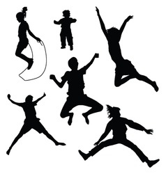 isolated silhouettes of kids jumping vector image