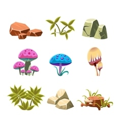 Cartoon stones mushrooms and bushes set vector