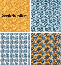 Trend of succulents patterns and stripes vector