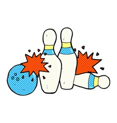 Comic cartoon bowling ball and skittles vector