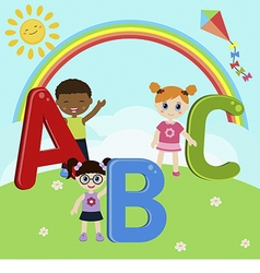 Children with abc vector