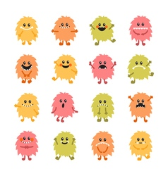 Set of cartoon hand drawn smiley monsters vector