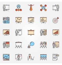 Conference and business presentation icons vector