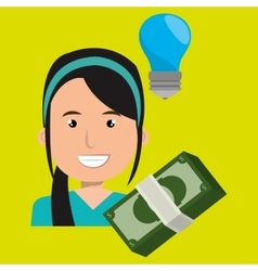 Business person with bills dollars isolated icon vector