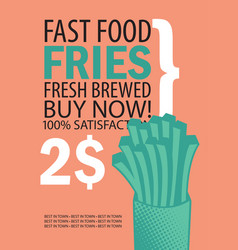 Banner with fries on orange background vector