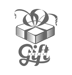 black and white graphic gift box logo templates vector image vector image