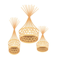 Brown Bamboo Wicker Baskets on White Background vector image vector image