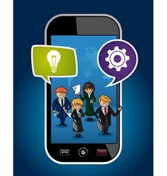 Business people mobile phone world map concept web vector image vector image