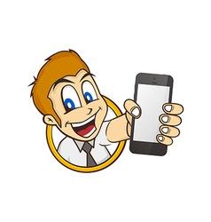 cartoon guy holding phone vector image