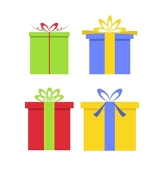 Christmas gifts boxes with bows in flat style vector image