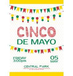 cinco de mayo invitation poster mexican party vector image