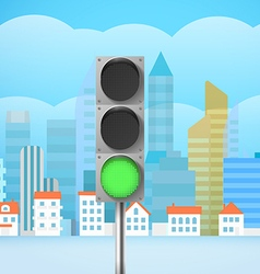 Cityscape with the traffic light city trafic vector