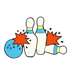 Comic cartoon bowling ball and skittles vector