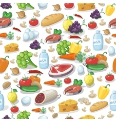 Everyday food products seamless pattern vector
