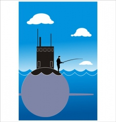 fisherman and submarines vector image vector image
