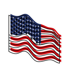 Flag united states of america waving side colorful vector
