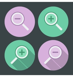 Flat style icon set Simple icons and with long vector image