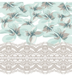 Flowers retro with lace border vector