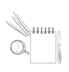 Hand drawn notebook for business people vector image