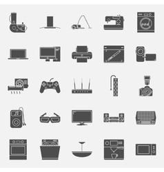 Home electrical appliances silhouettes icon set vector image vector image