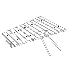 isolated xylophone outline vector image vector image