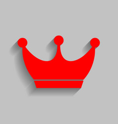 King crown sign red icon with soft shadow vector