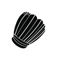 Leather baseball glove black simple icon vector