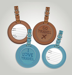 Leather luggage tags labels vector image vector image