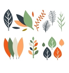 Leaves in Flat Design vector image vector image